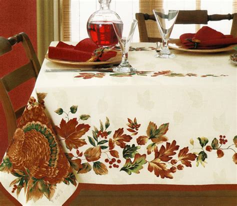 thanksgiving harvest turkey leaves white damask fall fabric tablecloth border what s it worth