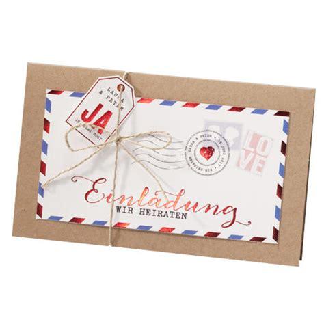 Einladungskarten Hochzeit Design by Einladung Zur Hochzeit Quot Quot Im Trendigen Luftpostdesign