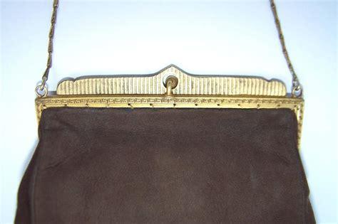 Handmade Bag Suede Lovely lovely c 1930 plate brown suede pearl encrusted