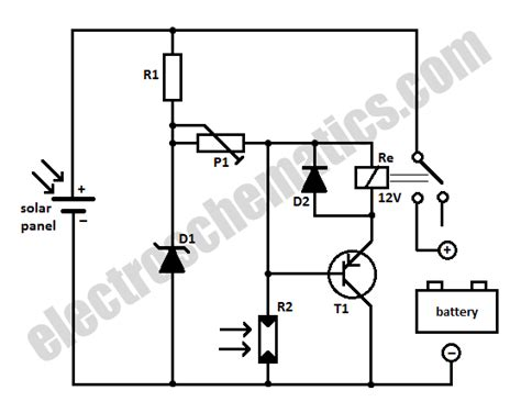 solar panel to battery switch circuit