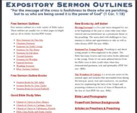 Bible Baptist Preaching Outlines by Expositorysermonoutlines Free Sermon Outlines Expository Gospel Lessons Books Outlines