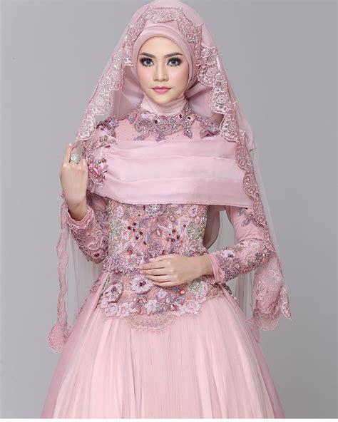 Gamis Baby Warna Pink Simple 17 model baju pengantin muslim 2018 desain elegan cantik terindah