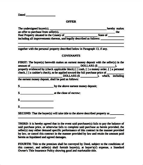 Acceptance Letter Real Estate Real Estate Offer And Acceptance Contract Template Sle Templates