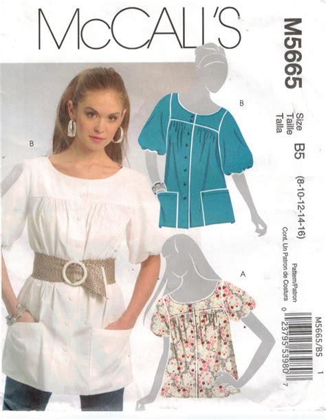 pattern sewing top mccalls 5665 tunic smock blouse top sizes 8 through 16