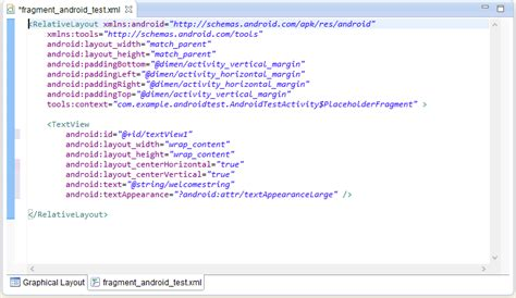 layout xml fragment creating an exle android application techotopia