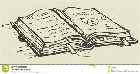 open sketch vector sketch open notebook with bookmarks stock vector