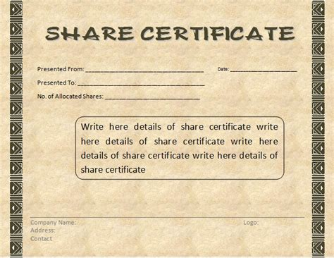 share certificate template formsword word templates