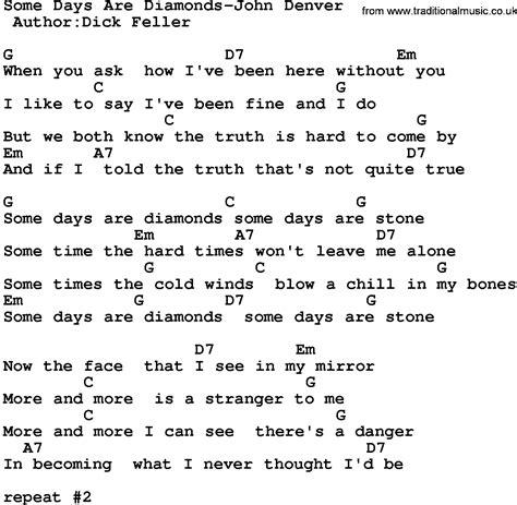 days are lyrics country some days are diamonds denver lyrics and chords