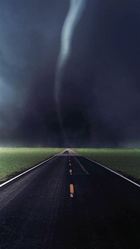 tornado storm touchdown country road highway iphone  wallpaper hd   iphonewalls