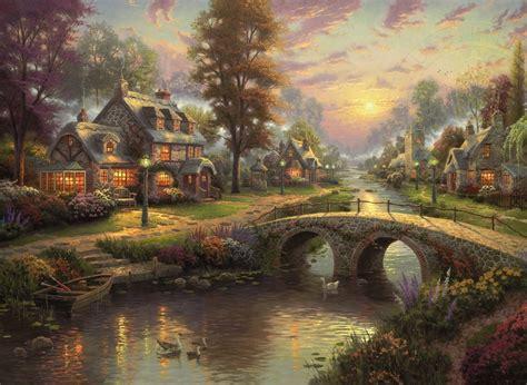 new painting free kinkade sunset on llight 1000 pc jigsaw puzzle
