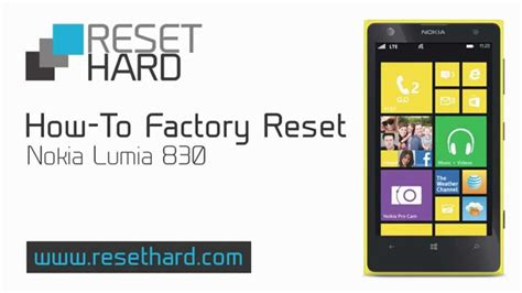factory reset lumia how to factory reset nokia lumia 830 youtube