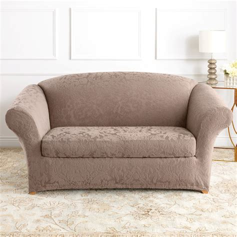 sofa loveseat slipcovers sure fit slipcovers form fit stretch jacquard damask 2