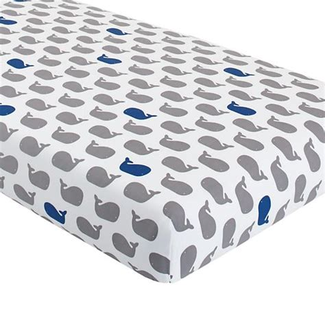 whale bedding make a splash crib fitted sheet blue whale the land of nod