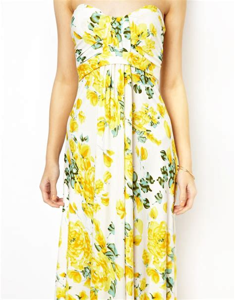 Maxi Flower Leaf Yellow ax strapless floral maxi dress in yellow lyst