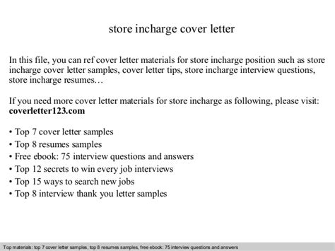 Store Incharge Resume by Store Incharge Cover Letter