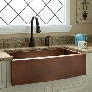 Copper Farmhouse Kitchen Sinks 33 Quot Kiana Curved Front Copper Farmhouse Sink Ebay