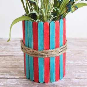 popsicle stick vases   july craft  kids cutesy