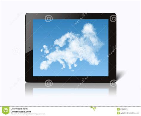 ipad  map  europe   clouds stock illustration