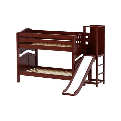 platform bed in chestnut with curved bed ends by maxtrix 200 maxtrixkids abra cc low bunk bed with slide platform