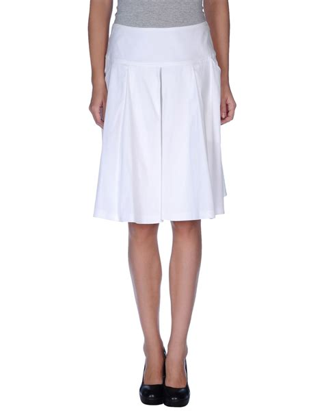 prada sport knee length skirt in white lyst