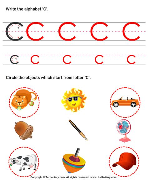 a color that starts with c identify words that start with c worksheet turtle diary