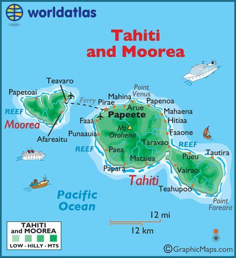 map of tahiti tahiti and moorea large color map