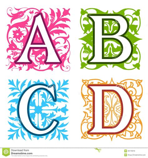 a b c d alphabet letters floral elements royalty free