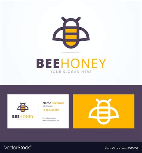bee business card template bee honey logo and business card template vector by