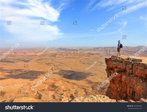 stone desert panoramic view color stone desert negev stock photo