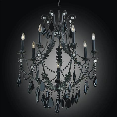 Wrought Iron And Black Crystal Chandelier Chateau 554 Black Iron Chandelier With Crystals