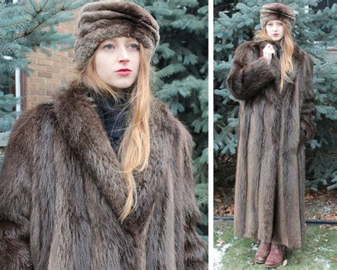 hairby minklittle maxi full length vintage real fur shawl coat brown beaver