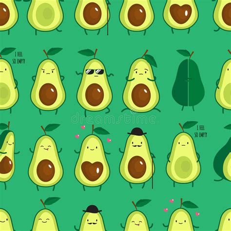 cute avocado pattern seamless pattern with different cute avocados stock