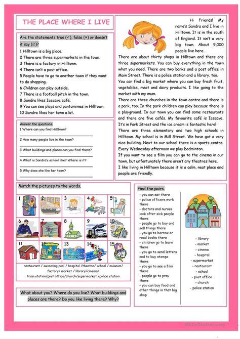 reading comprehension test esl beginners the place where i live reading comprehension worksheet