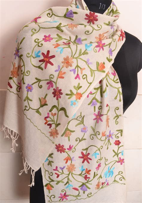 Embroidered Scarf kashmiri crewel embroidered scarf pashmina golden