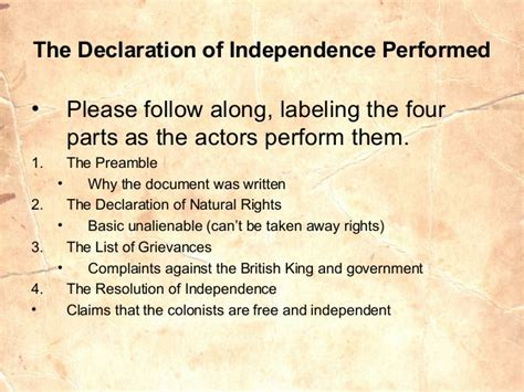 what are the four sections of the declaration of independence american revolution through declaration of independence
