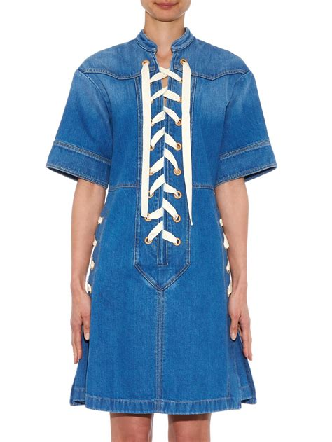 gucci lace front denim dress in blue lyst