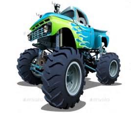 Cartoon monster truck man made objects objects