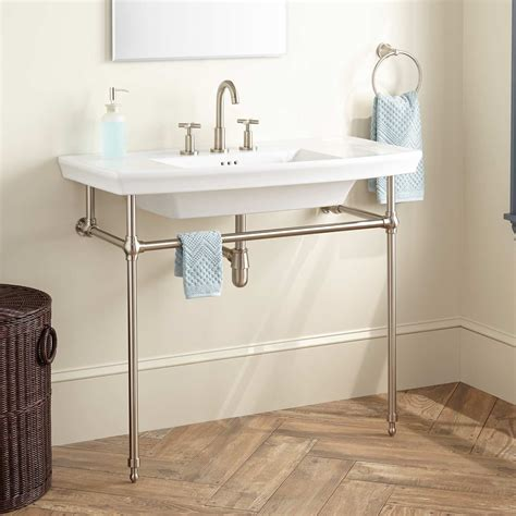 Bathroom Sink Consoles Olney Porcelain Console Sink With Brass Stand Bathroom
