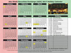 United Arab Emirates Uae Calendã 2018 Abu Dhabi Securities Exchange 2017 2018 Holidays Adx