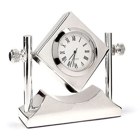 engraved silver plated tilting desk clock business gifts