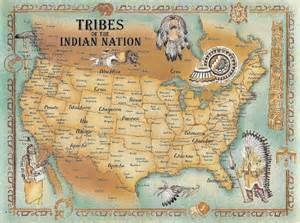 indian tribes of map tribes of america postcard