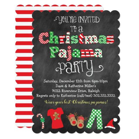 free christmas pj invitation pajama chalkboard invitation zazzle