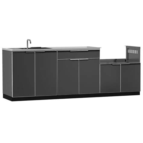 Kitchen Cabinet Sets Home Depot by Newage Products Aluminum Slate 4 97x36x24 In