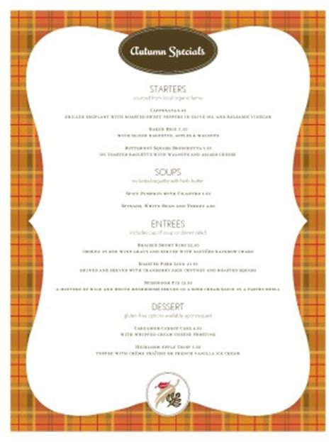 customize fall specials menu