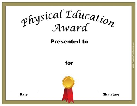 free educational certificate templates physical education awards and certificates free