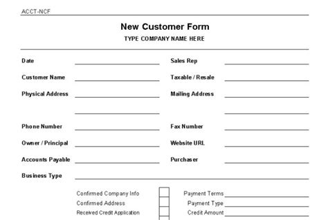customer setup form template new customer setup form template quotes
