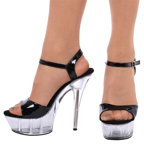 platforms high heels charmaine womens clear stilettos high heels platforms