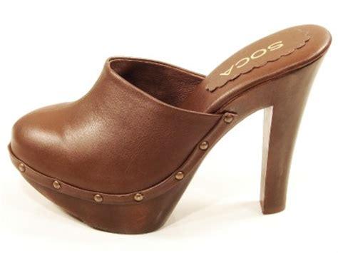 wooden heel clogs for womens soca high heel wooden platform clogs brown