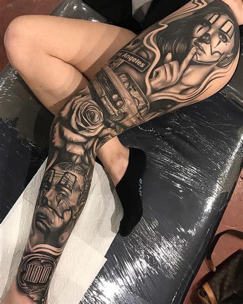 Los Angeles Leg Sleeve Best Tattoo Design Ideas Tattoos On Leg 2
