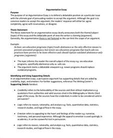 Thesis Statement For Argumentative Essay by Argumentative Essay Exle 9 Sles In Pdf Word